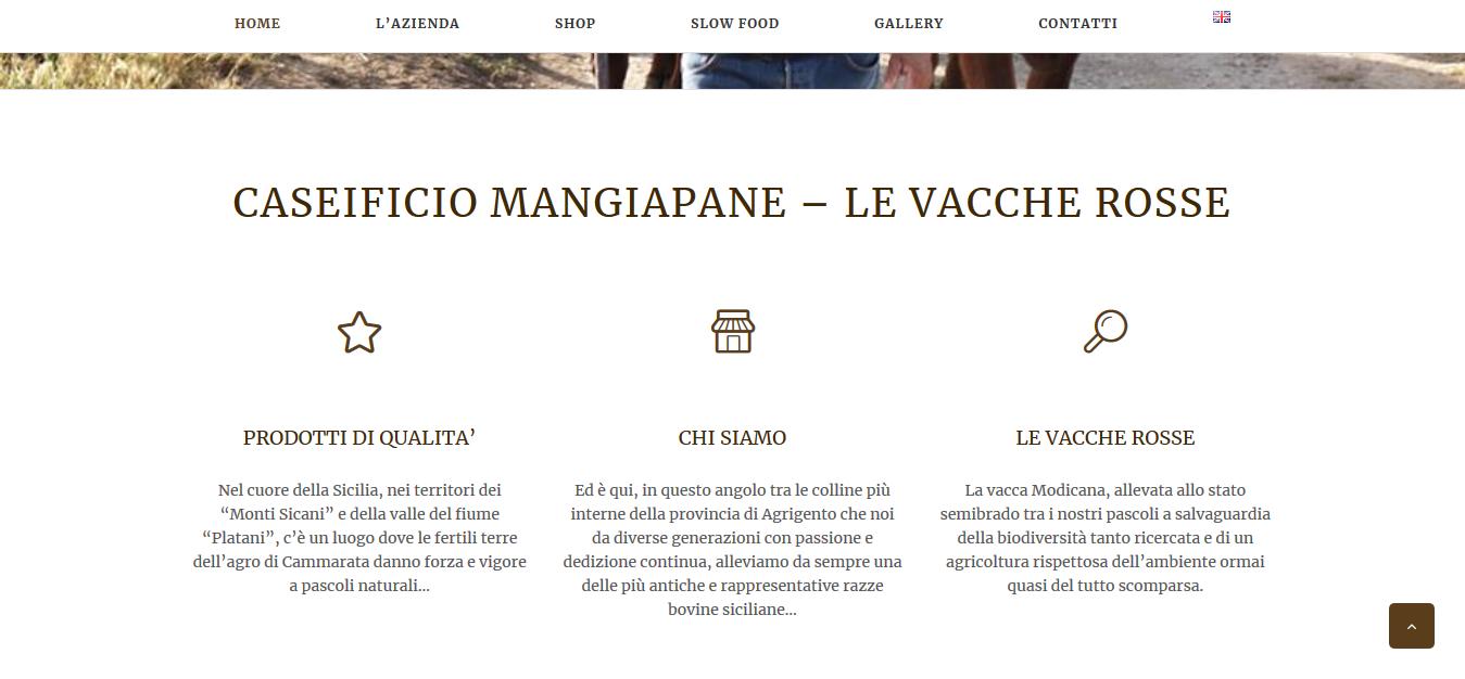 Home sito caseificio mangiapane
