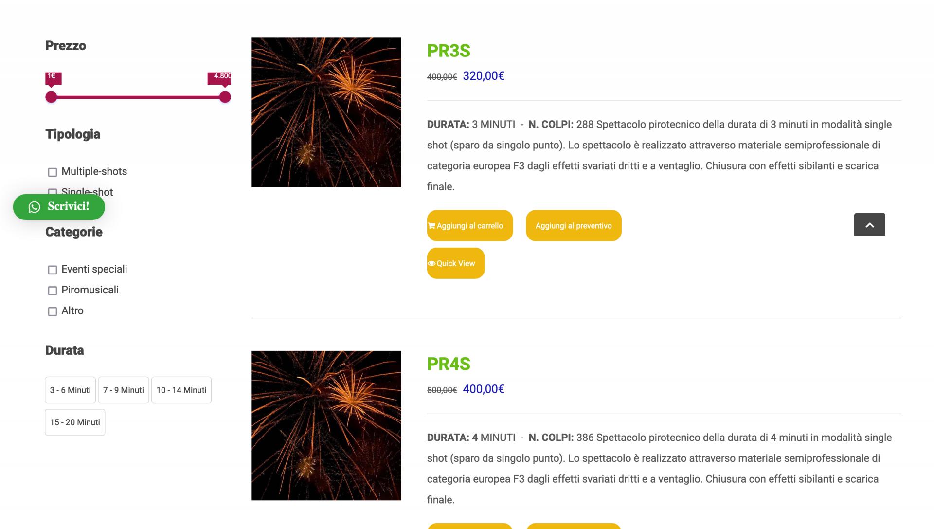 Shop con vari pacchetti Picone Fireworks